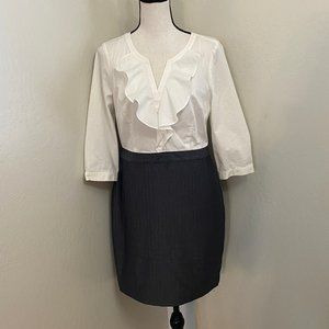 Loft Petites Size 8P White Grey Career Dress Top